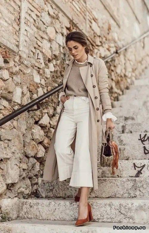 suéter cinza e calça branca