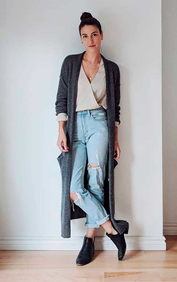 Petra alexandra, mom jeans e maxi casaco