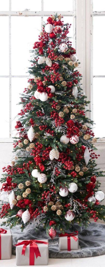 decoração de natal, árvore vermelha e branca
