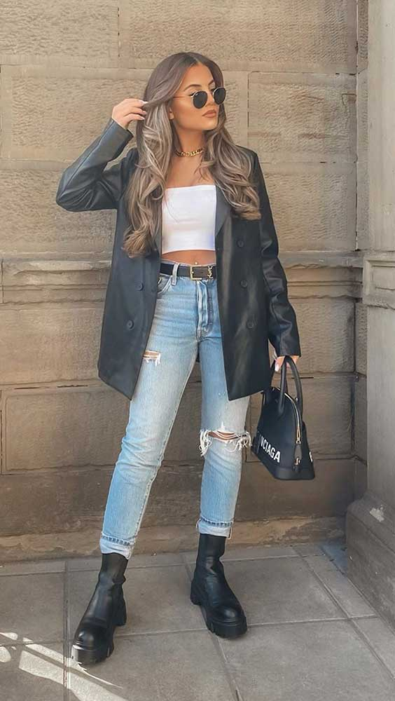 blazer oversized, top faixa branco