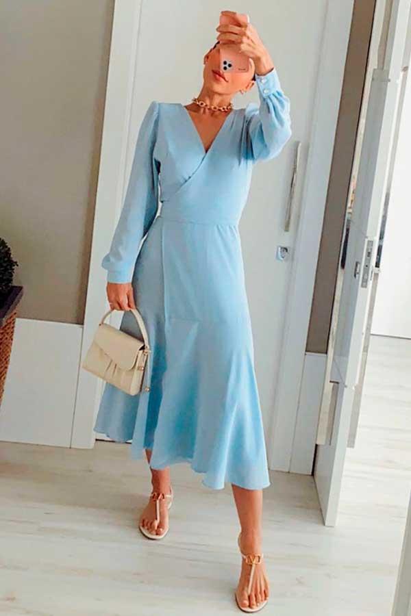 peças coloridas, vestido midi azul serenity