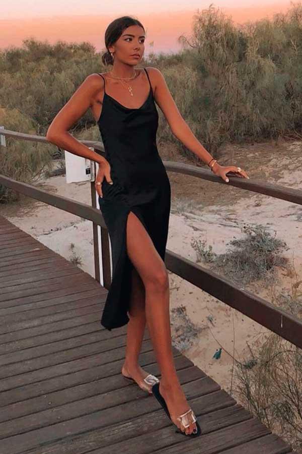 vestido midi de cetim preto rasteirinha slide