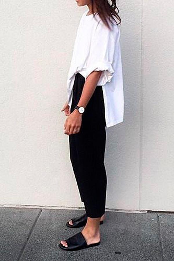 look minimalista preto e branco rasteirinha slide