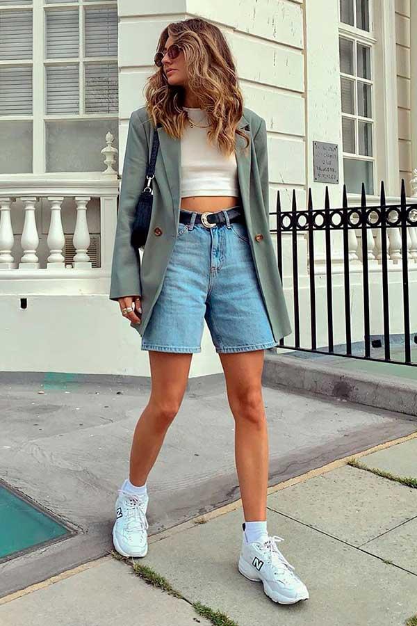blazer cinza, cropped, bermuda jeans