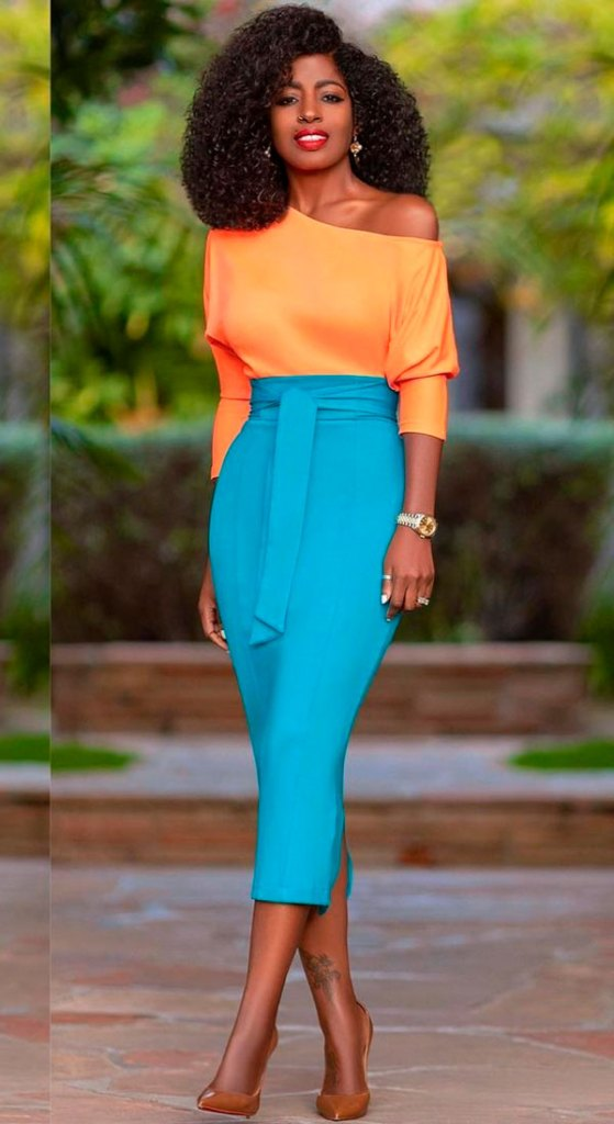 look color block, blusa laranja e saia lápis azul