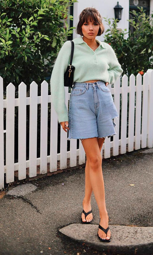 sandálias para o verão, bermuda jeans e sandália de bico quadrado