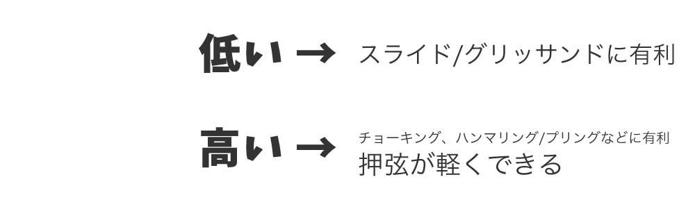 低い:スライド/グリッサンドに有利、高い:チョーキング、ハンマリング/プリングなど指技に有利。押弦が軽くできる