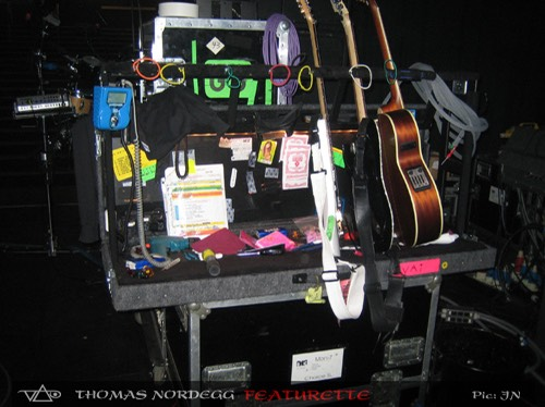 Steve Vai guitar rack side stage