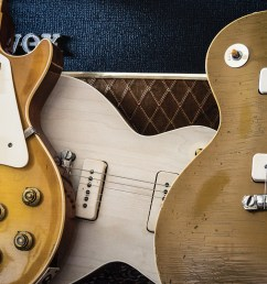 our three test bed guitars a gibson custom collector s choice 26 whitford burst our work in progress greco conversion and a 1954 goldtop [ 1200 x 798 Pixel ]