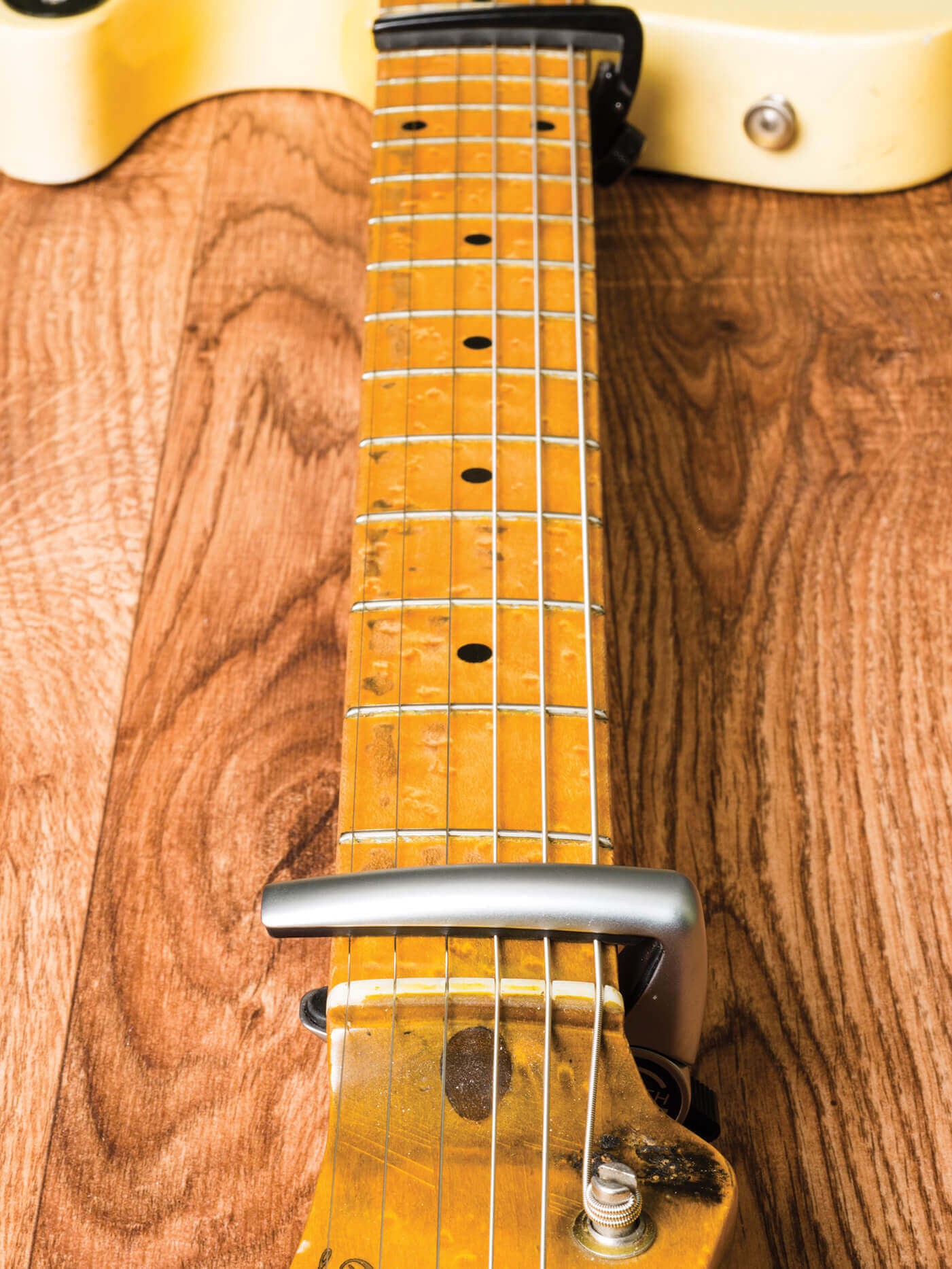 hight resolution of image of a telecaster neck being adjusted
