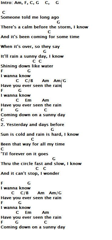 Lirik Have You Ever Seen The Rain : lirik, Chords, Lyrics, Guitar, Alliance