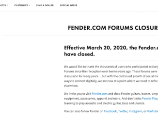fender.coms forums closure notice