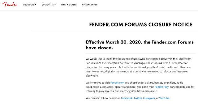 fender.coms forums closure notice