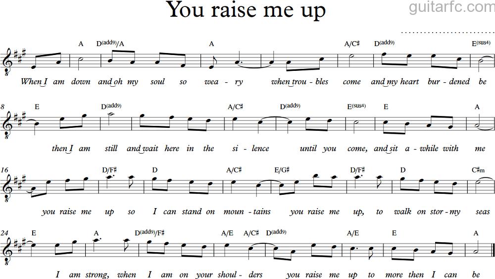 You Raise Me Up Guitarfccom