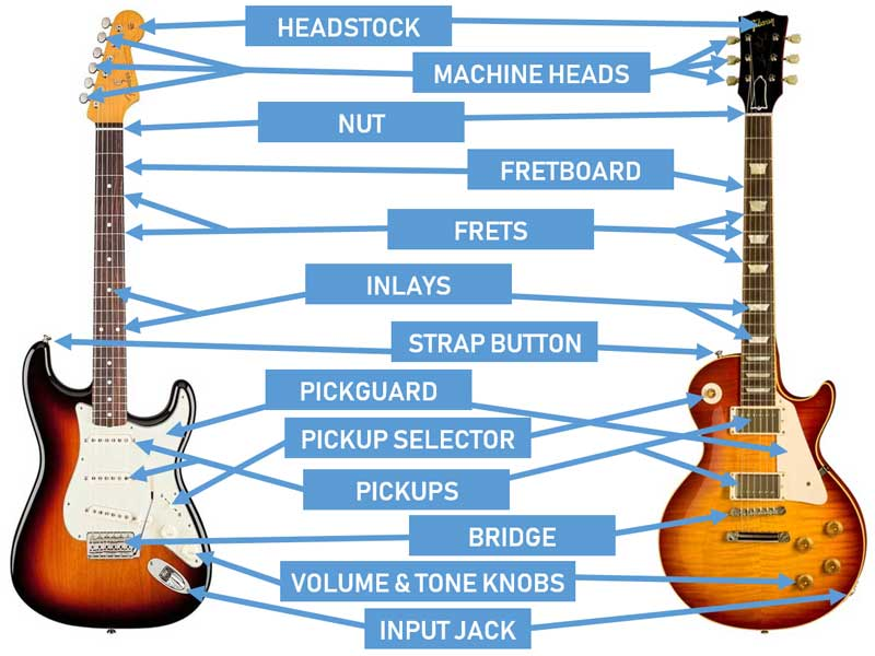 guitar parts diagram boat anatomy of the diagrams for acoustic and electric guitars