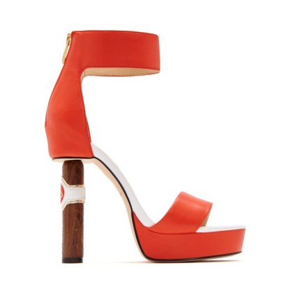 Katy Perry The Jackie platform ankle strap sandal with cuban cigar stiletto heel orange