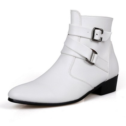 white boots with buckles