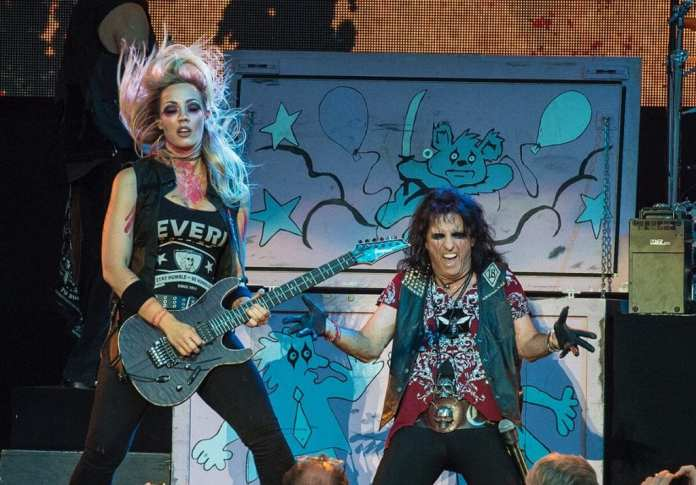Nita Strauss and Alice Cooper onstage at Chastain Park Atlanta - Photo by Sasha Vallely