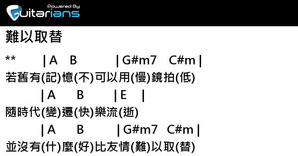 洪卓立 - 難以取替 結他譜 / Chord譜 | Guitarians.com