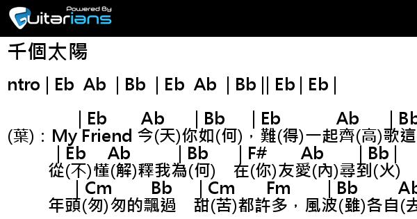 葉德嫻 - 千個太陽 結他譜 / Chord譜 詞 : 4   Guitarians.com