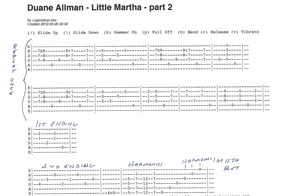 Duane Allman - Little Martha - guitar tablature included (3/6)