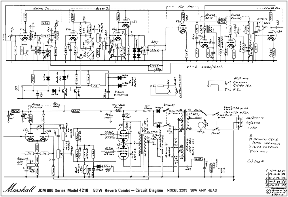 medium resolution of marshall jcm800 4210 combo schematic
