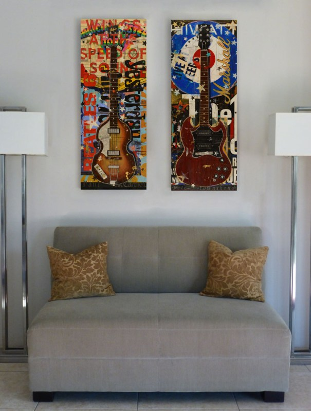 16x42 Guitar Paintings over couch