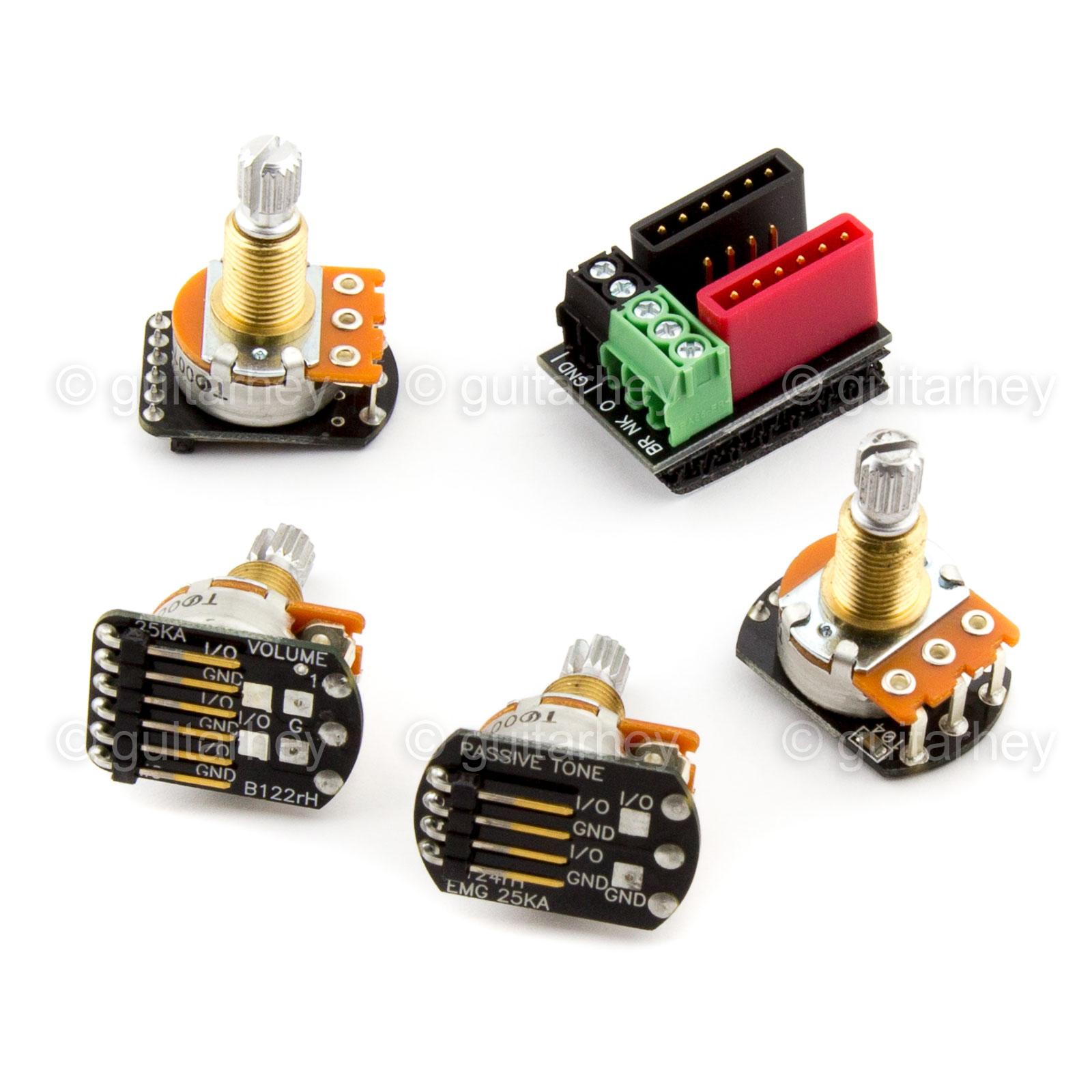 hight resolution of new emg solderless wiring kit 1 or 2 active pickups pot short shaftdetails about new emg