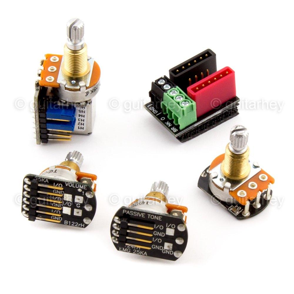 medium resolution of emg solderless wiring kit 1 or 2 dual mode pickups short shaft w 654330800689