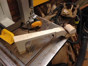 Neck blank roughly cut to size on the bandsaw