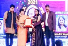 Singer Chandni Vegad honored with 'Mahatma Gandhi Ratna Award-2021' in Mumbai