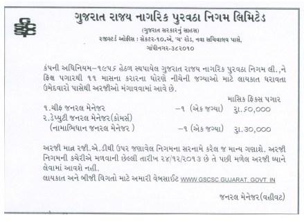 Gujarat State Civil Supplies Corporation Ltd Various Vacancies 2013
