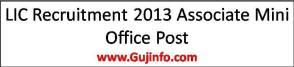 LIC Recruitment 2013 Associate Mini Office Post