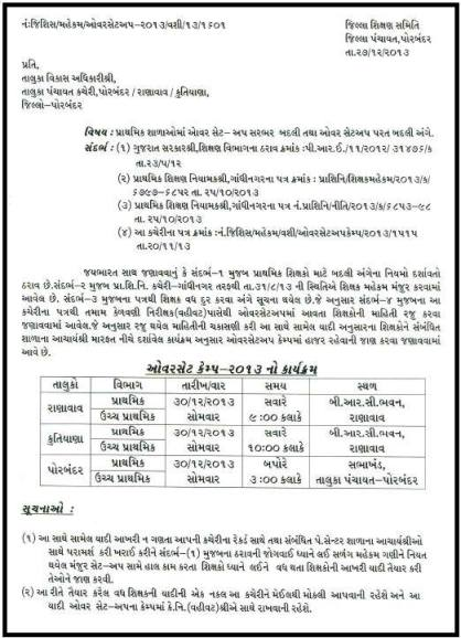 Primary Teacher Vadh Ghat Camp Details Porbandar District School
