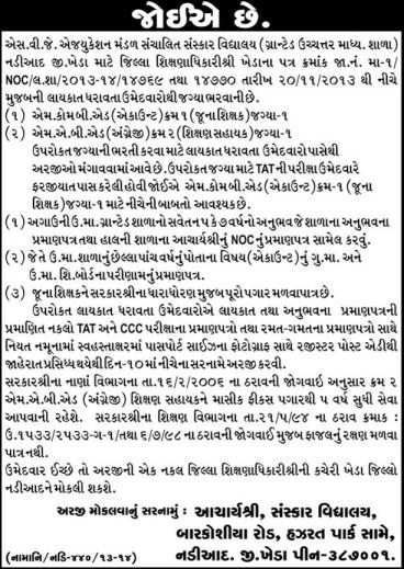 S.V.J Sanskar School Nadiad Kheda Vacancies