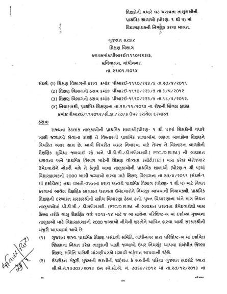 Std 1 to 5 Vidhyasahayak Bharti Babat Paripatra 21-01-2014