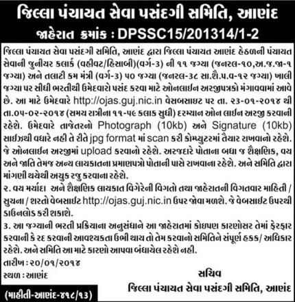 Anand Talati Cum Mantri Junior Clerk Bharti Jaherat 2014