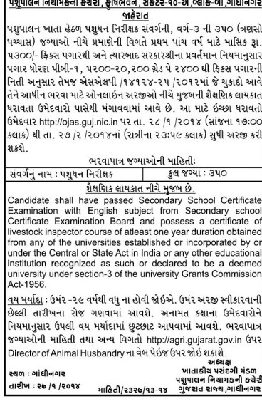 Animal Husbandry Live Stock Inspector Recruitment 2014