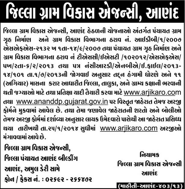 DRDA Anand Recruitment 2014 Online Application www.arjikaro.com