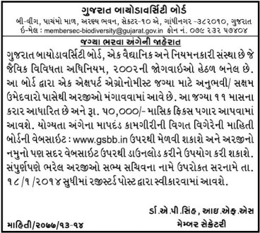 Gujarat Biodiversity Board GBB Export Agronomist Recruitment 2014