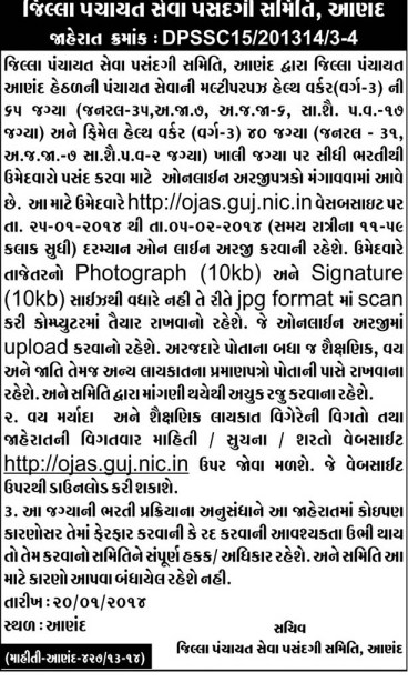 Jilla Panchayat Anand Health Worker Recruitment 2014