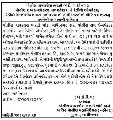 Police Sub Inspector Wireless Gujarat Interview Call Letter