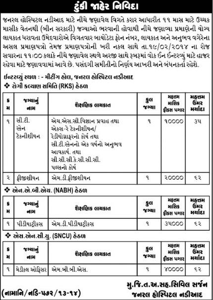General Hospital Nadiad Various Vacancy Walk in Interview