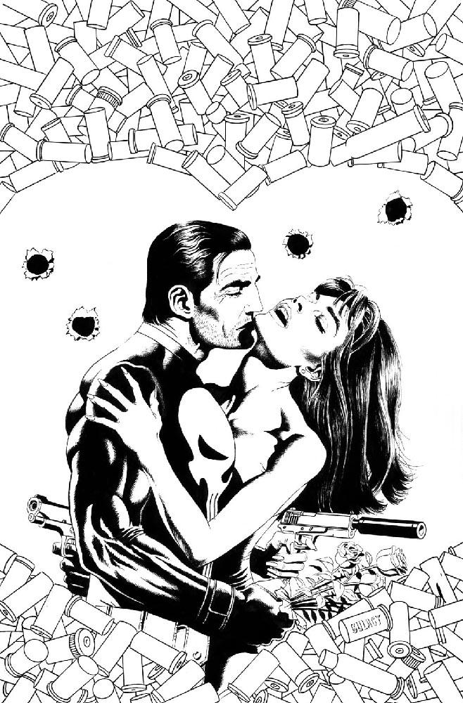 Punisher, Valentine Special 2006, cover, black & white