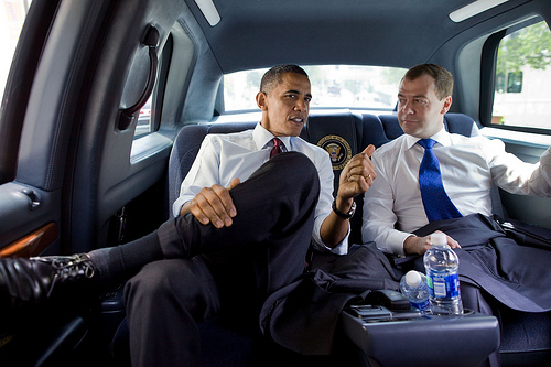 President Barack Obama and President Dmitry Medvedev of Russia ride together for lunch at Ray's Hellburger in Arlington, Va., June 24, 2010.    (Official White House Photo by Pete Souza)