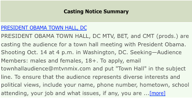 Obama is Casting Actors for Town Hall Audience per Nielsen's 'Back Stage' Nielsen5.1