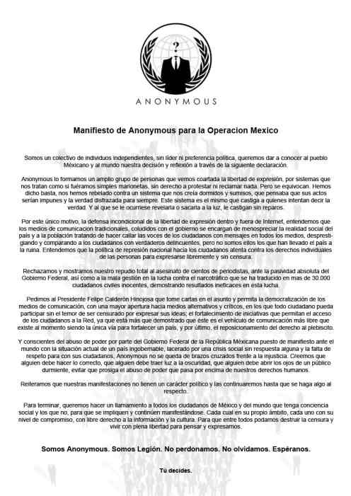 February 17, 2011 letter from Anonymous Mexico
