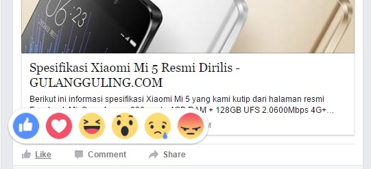 Tampilan reactions pada facebook desktop.