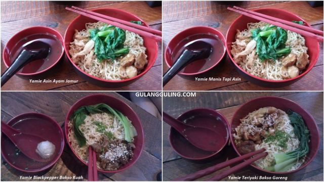 Beberapa varian menu yamie di Yamie Panda