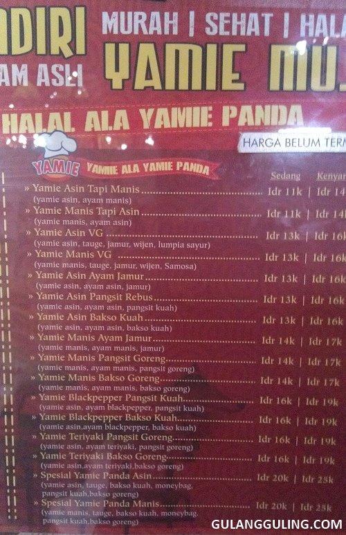 Macam menu dan harga yamie di Yamie Panda